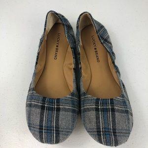 Lucky Brand grey/blue Flannel Ballet Flats